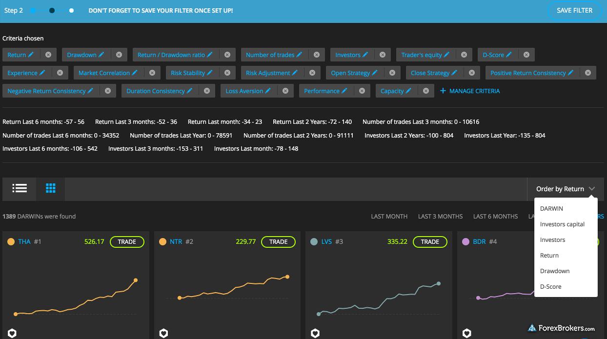Darwinex web platform screener