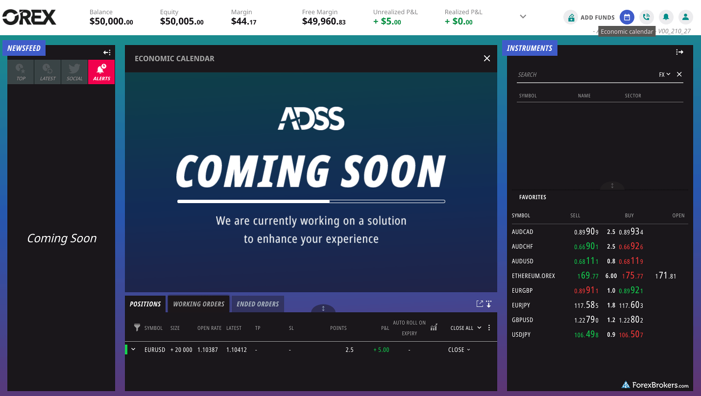 ADSS Orex web trader coming soon
