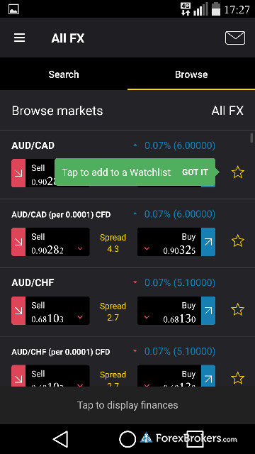 City Index mobile watchlist
