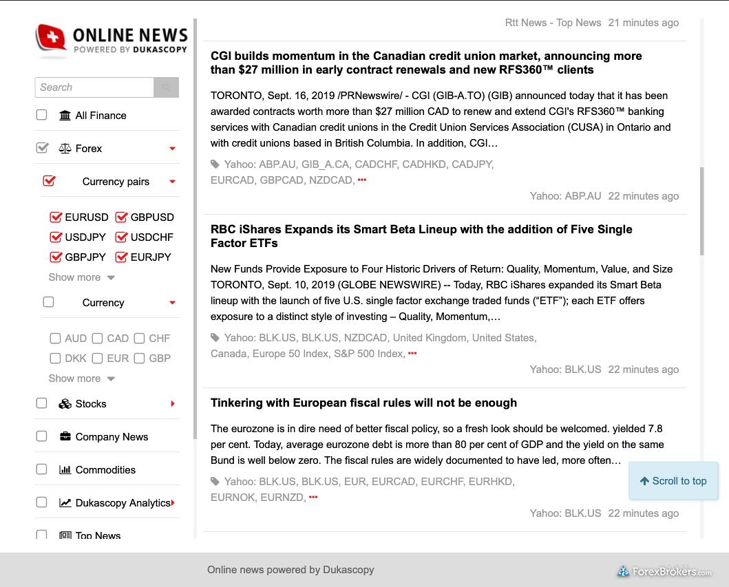 Dukascopy JForex desktop platform forex news