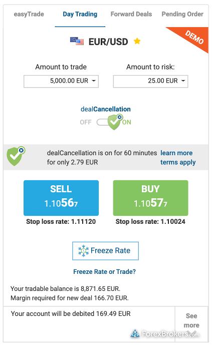 easyMarkets web trade ticket