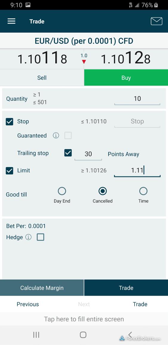 FOREX.com mobile trade ticket