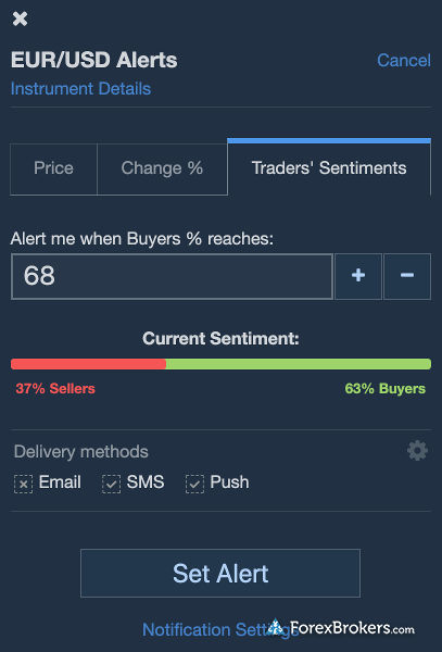 Plus500 WebTrader sentiment data