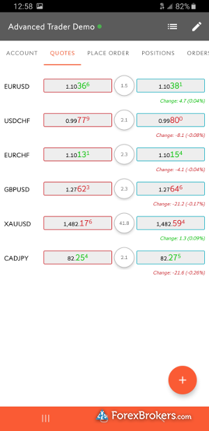 Swissquote Advanced Trader mobile watch list
