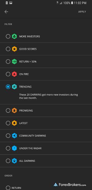 Darwinex mobile app Darwin rankings