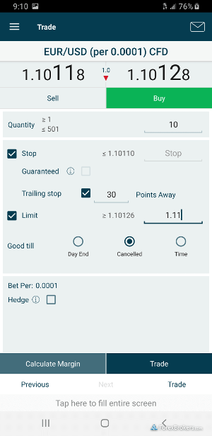 FOREX.com mobile trade ticket