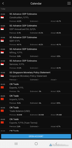 SaxoTraderGo mobile economic calendar