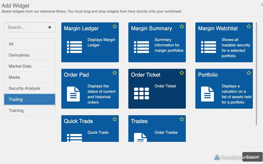 FP Markets Iress Web Platform Widgets