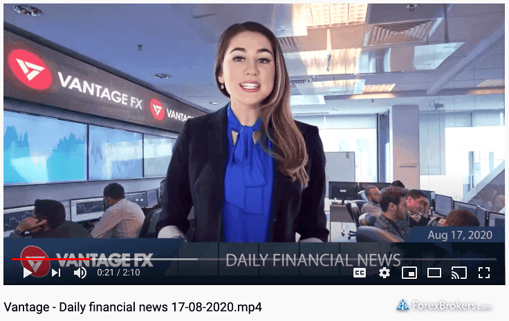 Vantage FX YouTube daily video updates