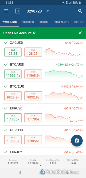 IC Markets cTrader mobile app watchlist