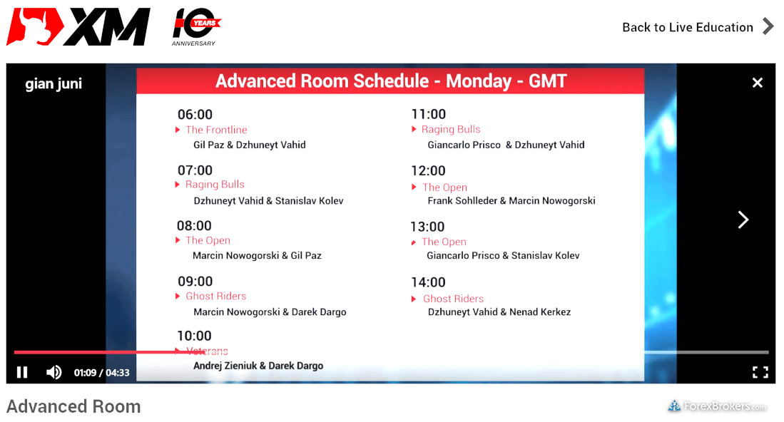 XM Global Advanced Education Schedule