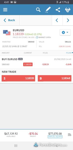 eToro mobile app trade ticket