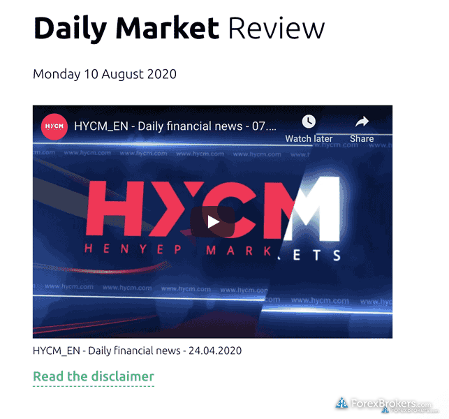 HYCM research Daily Market Review video outdated