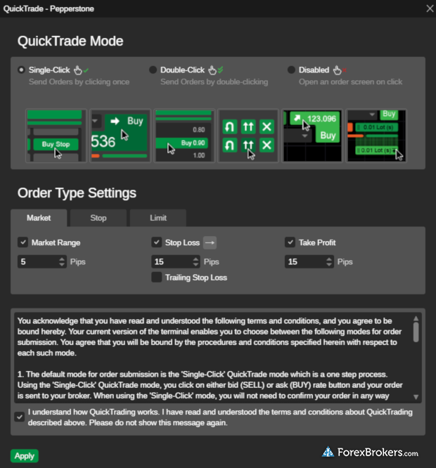 cTrader desktop platform QuickTrade settings