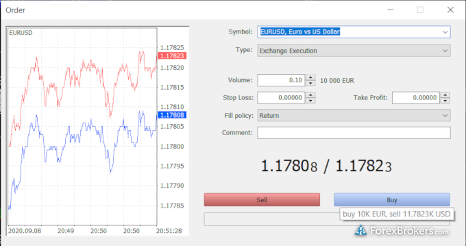 Swissquote MetaTrader 5 desktop trade ticket