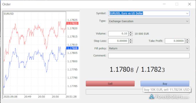 Swissquote MetaTrader 5 desktop trade ticket