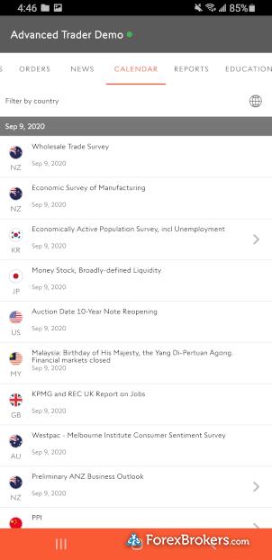 Swissquote MetaTrader 5 mobile economic calendar