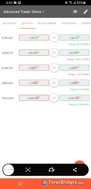 Swissquote Advanced Trader mobile watch list