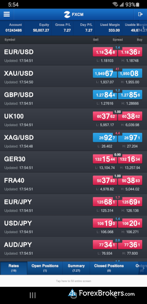 FXCM Trading Station mobile app watch list