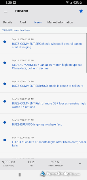 FOREX.com mobile app news headlines