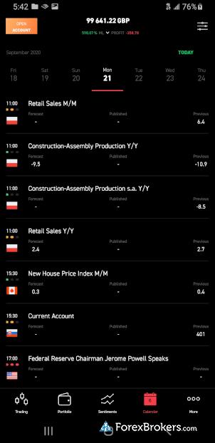 XTB xStation mobile app economic calendar