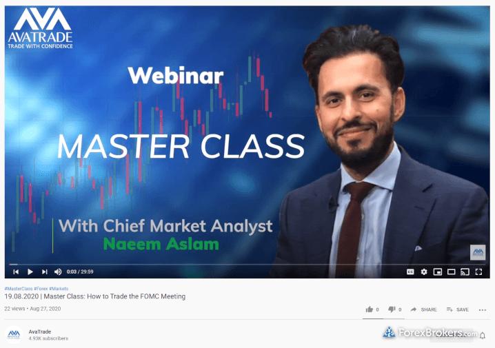 AvaTrade Master Class webinar YouTube forex education