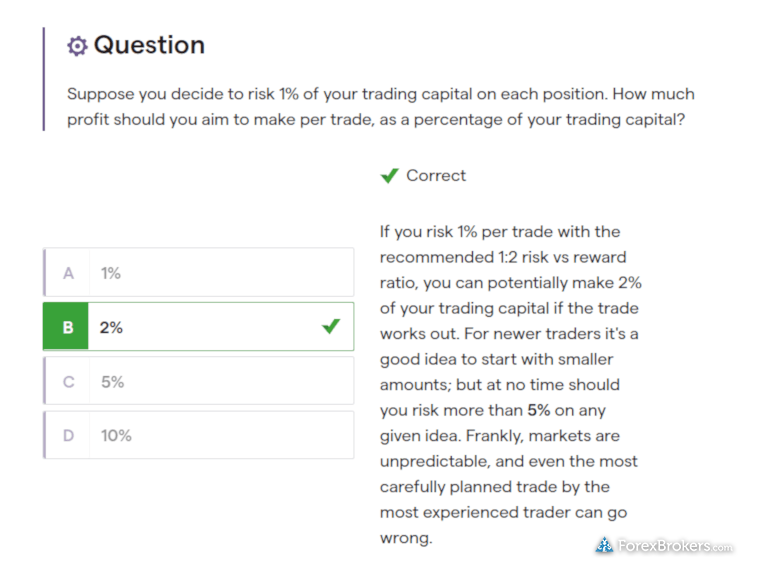 IG forex educational quizzes