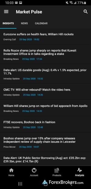 CMC Markets Next Generation Mobile app news Market Pulse Headlines