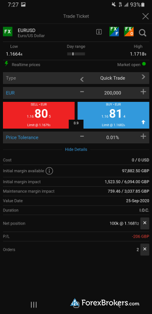 Saxo Bank SaxoTraderGo mobile forex trade ticket