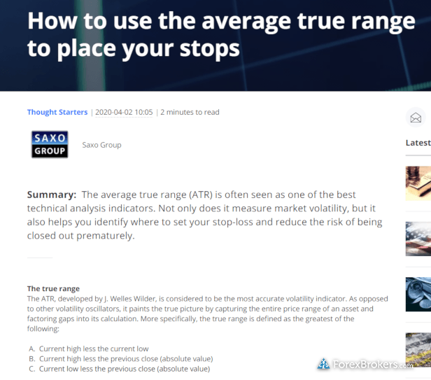 Saxo Bank beginner forex educational article
