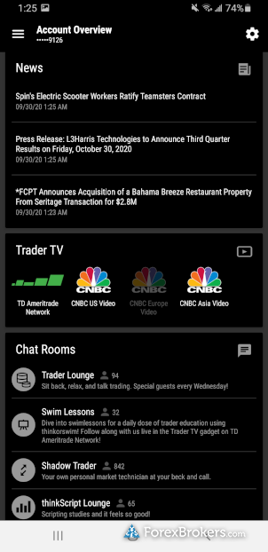 TD Ameritrade thinkorswim mobile app forex news