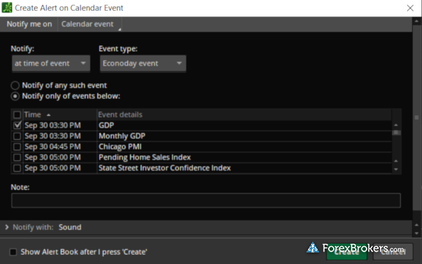 TD Ameritrade thinkorswim web platform Econoday events economic calendar alerts