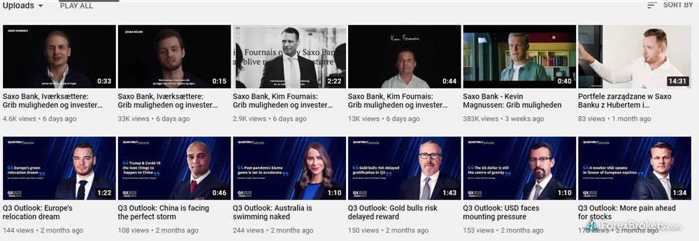 Saxo Bank YouTube videos research