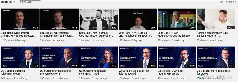 Saxo Bank YouTube videos research