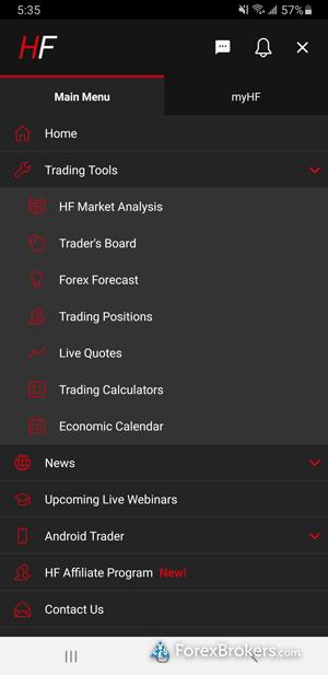 HotForex HF App navigation menu